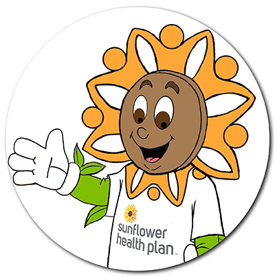 Sunny, Sunflower Health Plan's Kids Club mascot