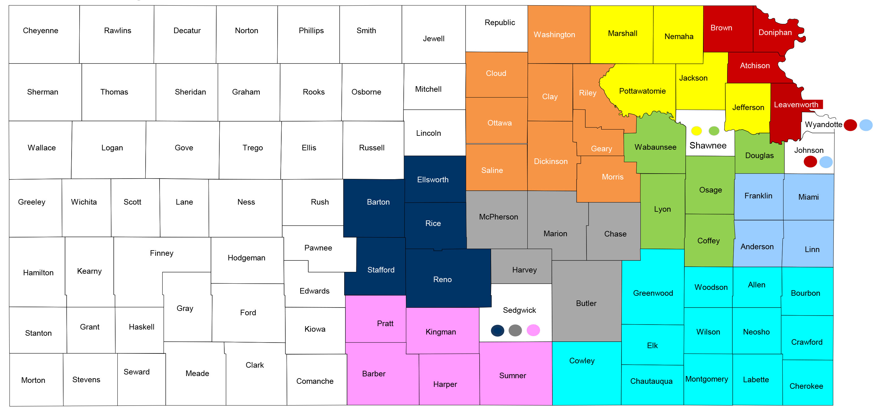 Sunflower Community Representative Map. For complete description, see listings below.