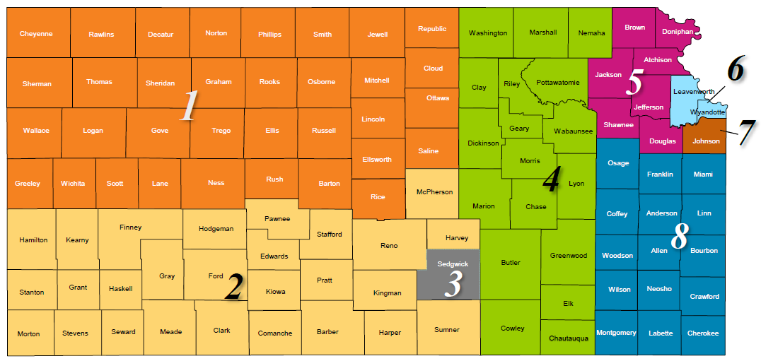 Sunflower Provider Rep Map. See detail in table below.